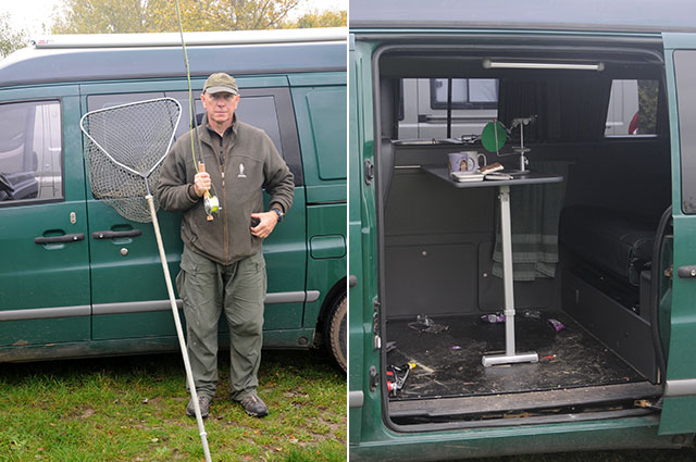 Andy Hathaway and his green van custom fitted for fly fishing